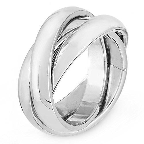 (West Coast Jewelry | ELYA Twist Triple Intertwined Rolling Ring Russian Wedding Band - Size 5)