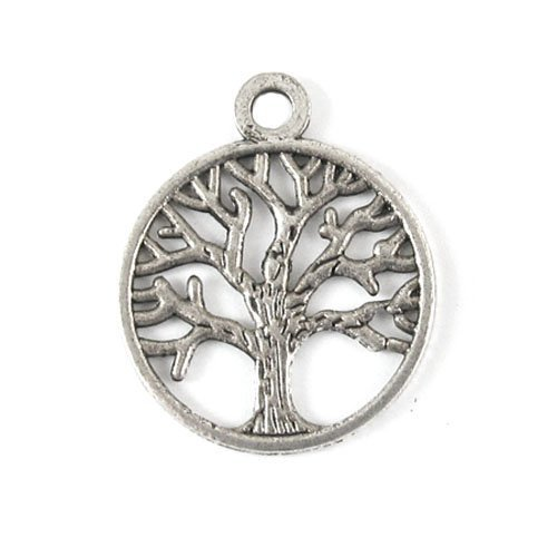 50PCS LIFE OF TREE Design Round Metal Charm Pendents (Antiqued Silver) -