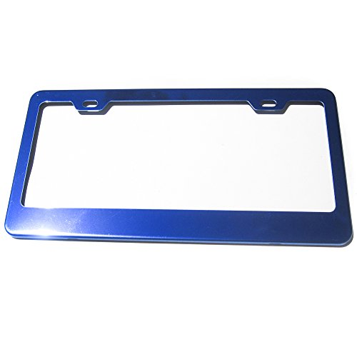 Candy Blue Powder Coated 100% Stainless Steel License Plate Frame Holder Tag (Candy License Plate Frame)
