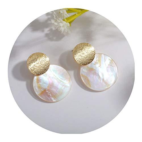 Wedding Jewelry Hanging Pearl Geometric Earrings Natural Pendant Earrings for women,Shell - white ()