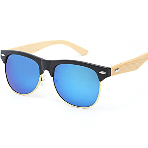 Honhui Fashion Bamboo Sunglasses Wooden Travel Glasses For Men And Women - Female Face Oval Shades For