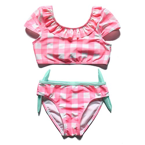 PHIBEE Girls' Tankini Summer Bathing Two-Piece Swimsuit Plaid 4T
