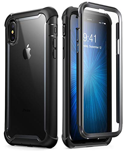 - i-Blason Case for iPhone X 2017/ iPhone Xs 2018, [Ares] Full-Body Rugged Clear Bumper Case with Built-in Screen Protector (Black)