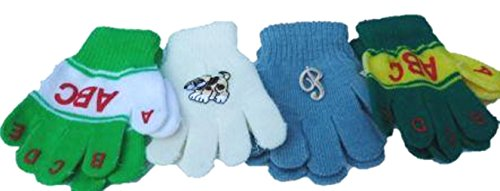 - Four Pairs One Size Stretch Microfiber Lined Magic Gloves for Ages 1-4 Years