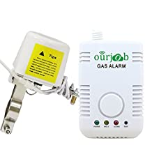 Shut off Gas Leakage Alarm,Ourjob Explosive Standalone Nature Gases Detector,Concentration LPN LNG Coal Natural Gas Monitor Sensor with Sound Light Warning and Auto Closed Function for Home Safety