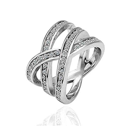 MGZDH Ring, Diamond Crossover Ring Hollow Spiral Ring Jewelry