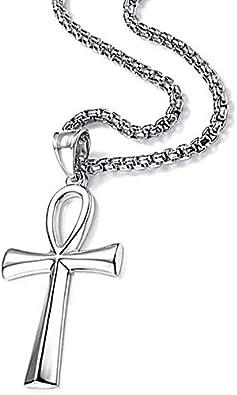 22 Chain Stainless Steel Coptic Ankh Cross Pendant Necklace for Men Women