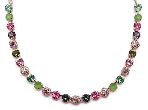 (Mariana Tutti Frutti Swarovski Crystal Rose Goldtone Necklace Green & Pink Quatrefoil Mosaic 142)