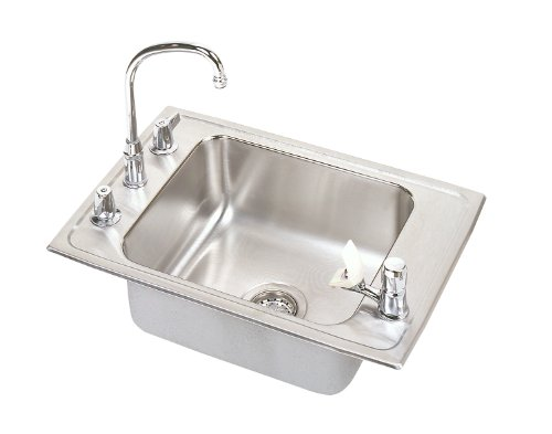 Elkay DRKRC2220C Lustertone Double Ledge Classroom Sink, Single Bowl, Sink Package, 22