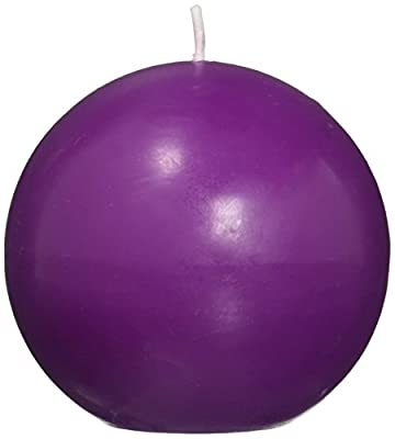 Zest Candle 6-Piece Ball Candles, 3-Inch, Purple