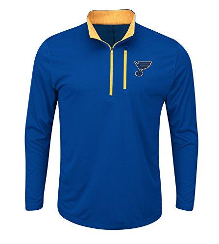 NHL St. Louis Blues Good Work Long Sleeve 1/2 Zip Mock Neck Tee, Large, Deep Royal Blue Yellow Gold Yellow Gold
