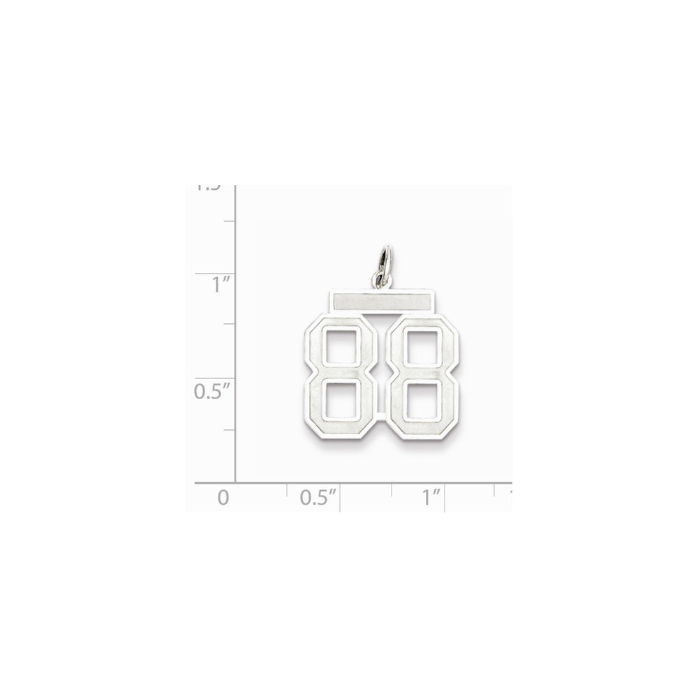 Beautiful Sterling silver 925 sterling Sterling Silver Rhodium-plated Medium Satin Number 88 Charm