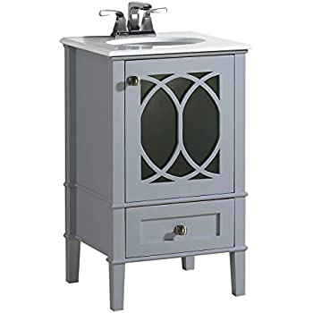 Simpli Home Paige 20 Bath Vanity With White Quartz Marble Top Grey