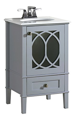 Simpli Home Paige 20'' Bath Vanity with White Quartz Marble Top, Grey by Simpli Home