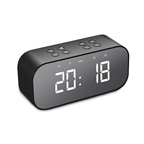 NOMENI Portable Digital Alarm Clock, Bluetooth 5.0 Stereo Speaker, LED Mirror AUX TF Music Player,Cute Mini Alarm Clock for Desktop Table Bedside