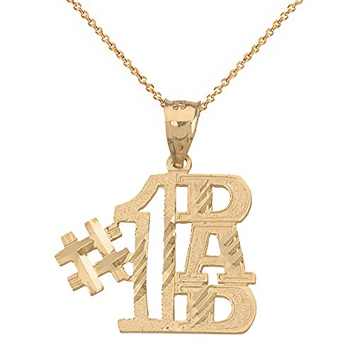 "Charm #1 Dad Pendant Necklace (20"" Chain + 10k Yellow-Gold)"