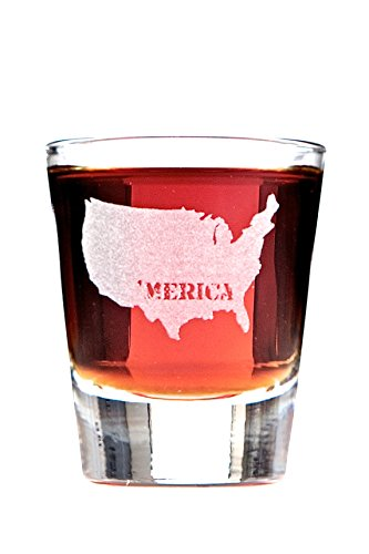 'MERICA: Patriotic Engraved Shot Glass Featuring the United