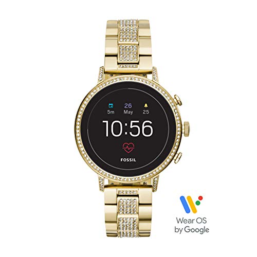 Fossil Women's Gen 4 Venture HR Heart Rate Stainless Steel Touchscreen Smartwatch, Color: Gold (Model: FTW6012)