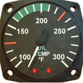 """エンジン計器 ROTAX 912/914用 OIL TEMPERATURE GAUGE 2-1/4"""" (オイル温度計) (華氏表示) 100-300F (914UL)"""