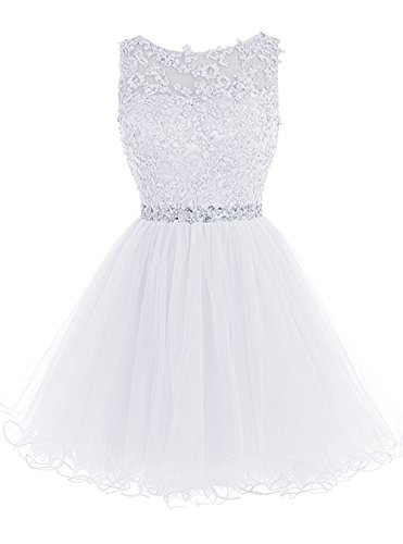 WDING Short Teen Dresses Appliques Beads Backless Party Dress for Junior White,US14 ()