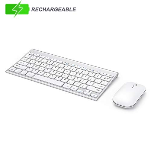 Wireless Keyboard and Mouse Set, Seenda Ultra Thin Small Rechargeable Keyboard and Mouse with Long Battery Life for Windows, Silver and White
