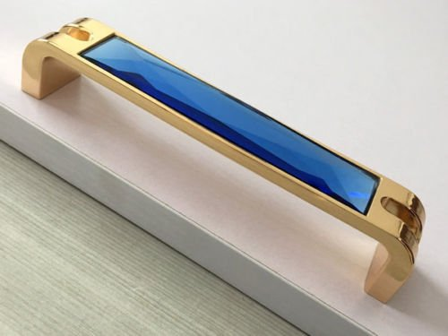 Cabinet Pull Antique, Cabinet Pulls Knob Blue Glass Drawer Pulls Cabinet Handles Gold, Material zinc alloy / Glass (5