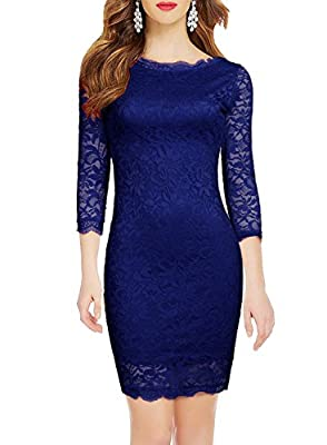WOOSEA Elegant 3/4 Sleeve Full Flroal Lace Short Cocktail Dress