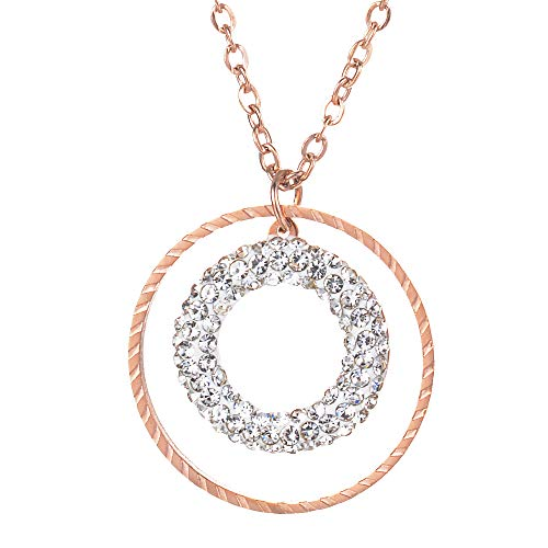 lar Double Ring-in-Ring Charm Gold Tone Pendant Necklace. Outer Textured Golden Ring Encases Stunning Pave Crystal Ring on 20