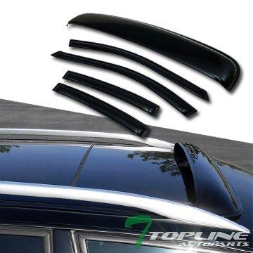 Topline Autopart Sun Rain Vent Window Visors+Sunroof Moon Roof Guard Deflector 2004-2008 Acura Tl