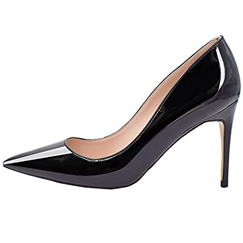 Lovirs Womens Black Office Basic Slip on Pumps Stiletto Mid-heel Pointy Toe Shoes for Party Dress 8 M - Office Basics