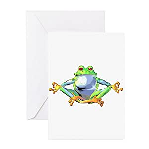 Amazon cafepress meditating frog greeting card note card greeting cards m4hsunfo