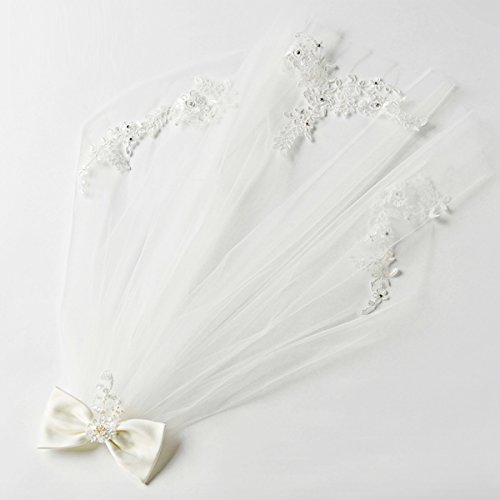 Elesa Miracle Flower Girl Bow Embroidered Wedding Veil, Ivory, In Gift Box by Elesa Miracle (Image #1)