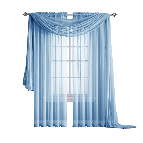 Warm Home Designs Pair of Short Baby Blue Sheer Window Curtains. Each Voile Drape is 56 X 63 Inches in Size. Great for Kitchen, Living Room or Kids Bedroom. 2 Fabric Panels. Color: Baby Blue 63