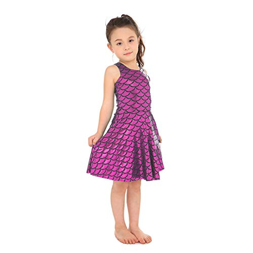 Yiwbeij Rose Red Mermaid Fish Scales Skating Halloween Dress for Junior Girls M
