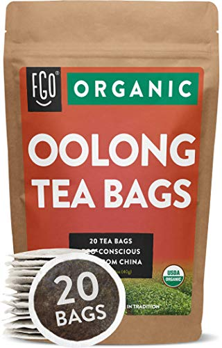 Organic Oolong Tea Bags | 20 Tea Bags | Eco-Conscious Tea Bags in Kraft Bag | Raw from China | by FGO