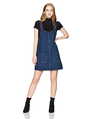 Lily Parker Women's Classic Denim Bib Overall Dress with Pockets