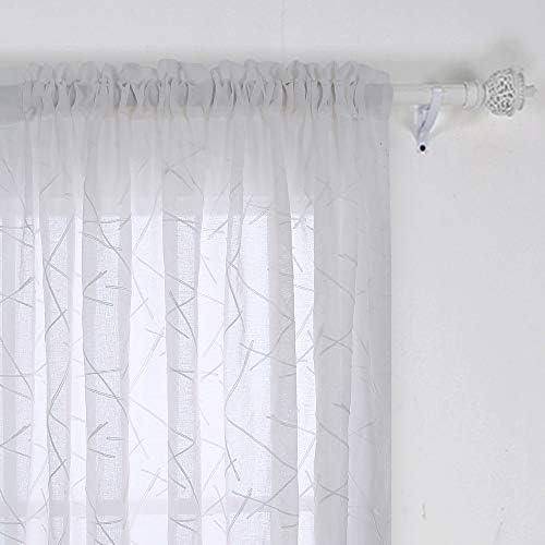 Deconovo – Tende in voile con asta, con ricamo, 160 x 132 cm, linea bianca, set da 2 pezzi, tessuto 160 x 132 cm