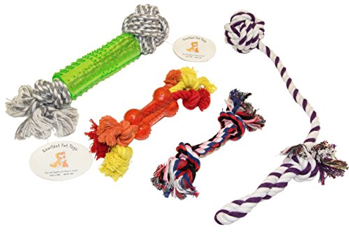 EMG Pet Emporium Teether & Chew Rope Bundle for Dogs | Jumbo Knobby Teething Bone | Knotted Ball Puller | Guaranteed | 3 Strand Teether Bone Rope | Small Chewer ()