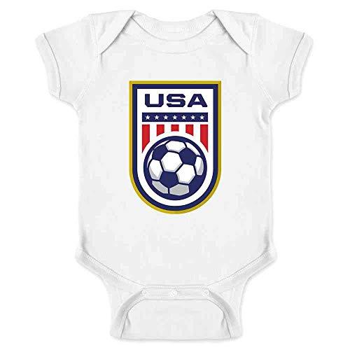 USA Soccer Team National Crest Girls or Boys White 12M Infant Bodysuit