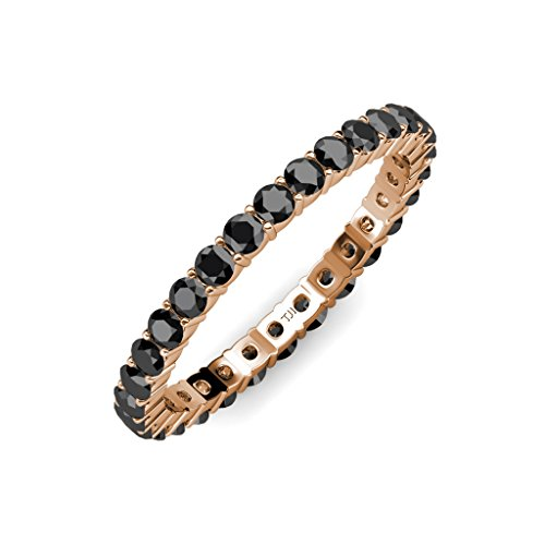 Black Diamond 2.7mm Shared Prong Eternity Band 1.62 ct tw to 1.91 ct tw in 14K Rose Gold.size 6.5 (Eternity Diamond Prong Band Shared)
