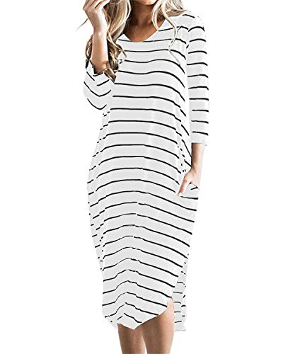 CNFIO Women T Shirt Dress Oversized Stripes 3/4 Short Sleeves Dresses with Pocket White XX-Large