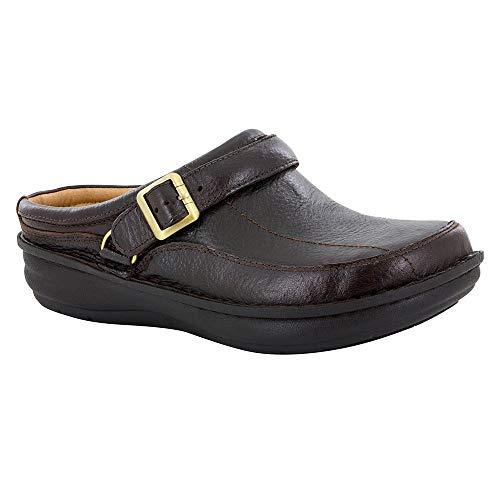 Leather Cork Clogs (Alegria Men's Chairman Dark Brown Wax Tumbled 45 European)