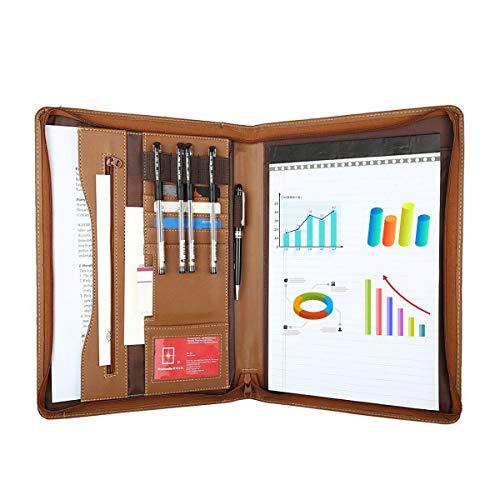 Leathario File Folder Padfolio Writing Pad Business Presentation Folder Portfolio (Brown-A4-1) in USA