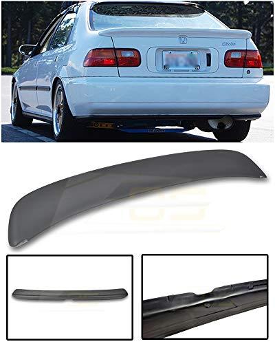 Replacement for 1992-1995 Honda Civic EG9 Sedan | EOS Ferio Style JDM ABS Plastic Primer Black Rear Trunk Lid Wing Spoiler ()