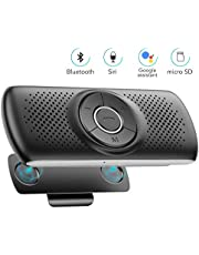 AGPTEK Bluetooth 4.2 Car Speakerphone, Wireless Hands Free Car Kit with Visor Clip, 3W Loud Speaker, Built-in TF Card Slot, Microphone, Siri and Google Assistant for Android iOS