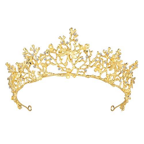 - Frcolor Wedding Tiara Flower Bridal Princess Queen Crown Baroque Vintage Rhinestone Headband for Party Wedding Gold
