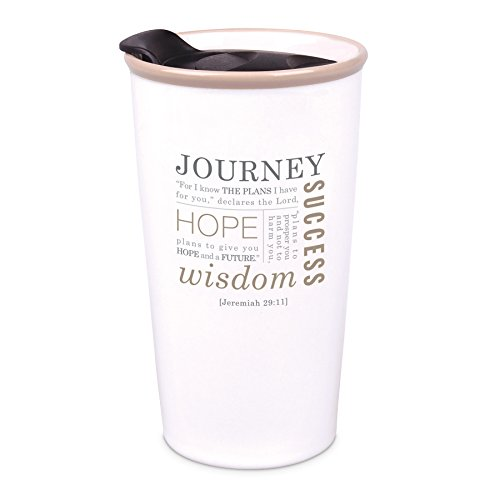 Journey Ceramic Mug - Lighthouse Christian Products Journey Christmas Ceramic Tumbler Mug, Cream