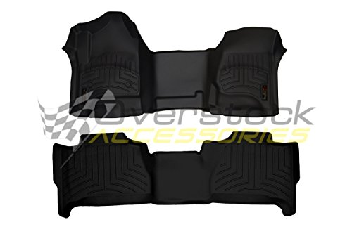 WeatherTech 2012-2016 Dodge Ram Truck Floor Liners-Full Set (Includes 1st and 2nd Row-Over The Hump)-Over The Hump Front -Fits Quad Cab Only-Black