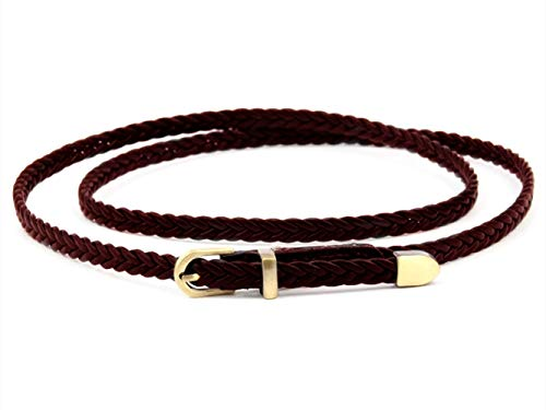 Women Fashion Braided PU Leather Dress & Jeans Narrow Waist Rope Belt for Girls and Ladies Alloy Buckle (Brown) ()