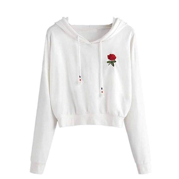 MEIbax Mujeres Elegantes Rose Bordado Sudadera con Capucha SušŠter de la Cosecha de Jersey Tops O-Cuello Blusa Jersey con Cordšn: Amazon.es: Ropa y ...